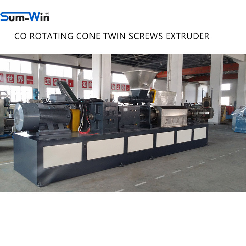 THE EQUIDIRECTIONAL CONICAL TWIN SCREWS EXTRUDER